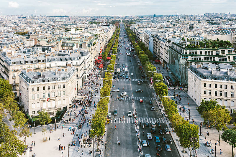 Champs Elysees from Arc de Triomphe by Zocky for Stocksy United