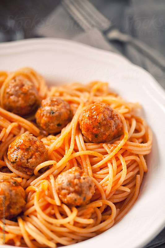 Spaghetti and meatballs by Davide Illini for Stocksy United