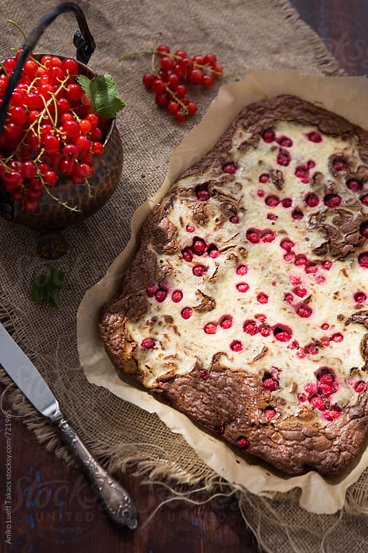 Redcurrant White chocolate Brownie by Aniko Lueff Takacs for Stocksy United