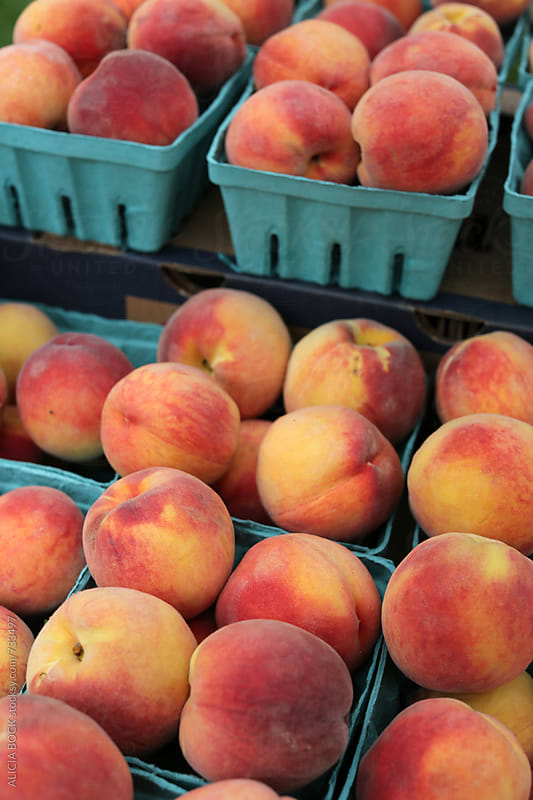 Fresh Picked Peaches For Sale At A Local Farm Market by ALICIA BOCK for Stocksy United