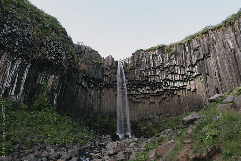 Remote waterfall Svartifoss in Skaftafell Park, Iceland by Daring Wanderer for Stocksy United