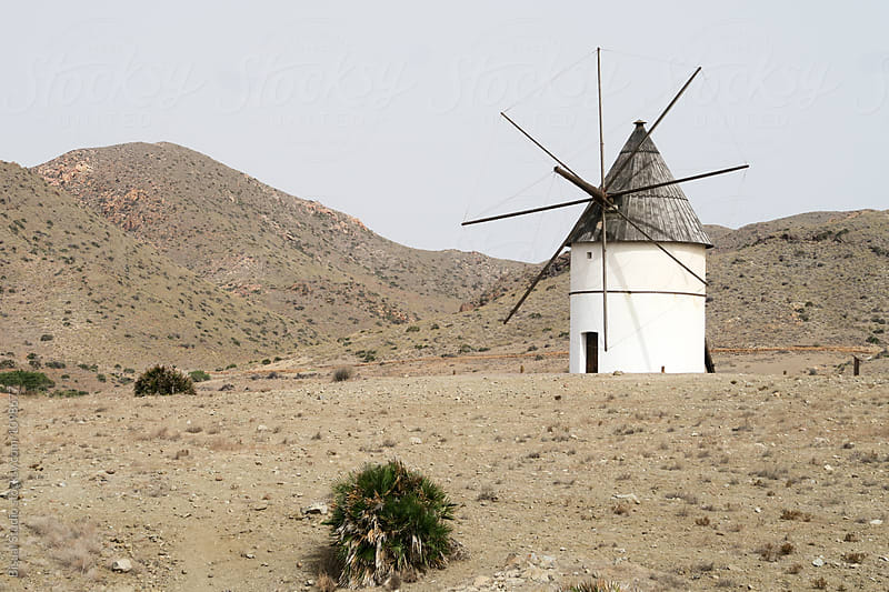 Windmill in the desert in Rodalquilar (Spain) by Bisual Studio for Stocksy United