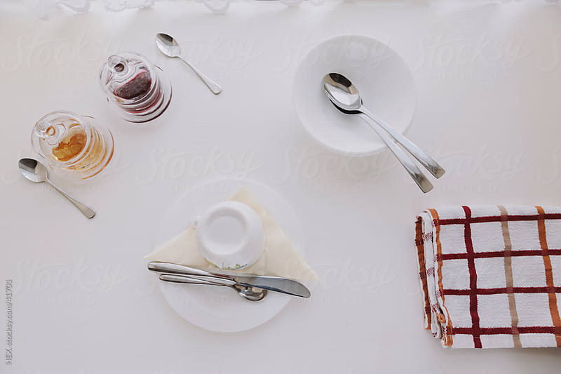 Simple Ceramic Breakfast Set on White Table by HEX. for Stocksy United