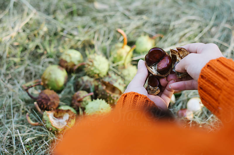 Woman peeling chestnuts by Pixel Stories for Stocksy United