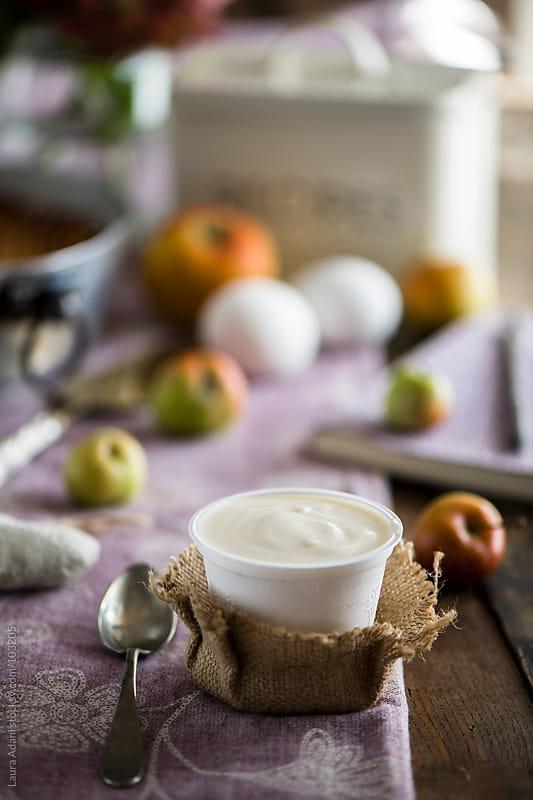 a small pot of yogurt by Laura Adani for Stocksy United