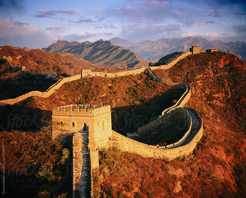 Elevated panoramic view of the Jinshanling section, Great Wall of China, UNESCO World Heritage Site, near Beijing, China, Asia by Gavin Hellier for Stocksy United