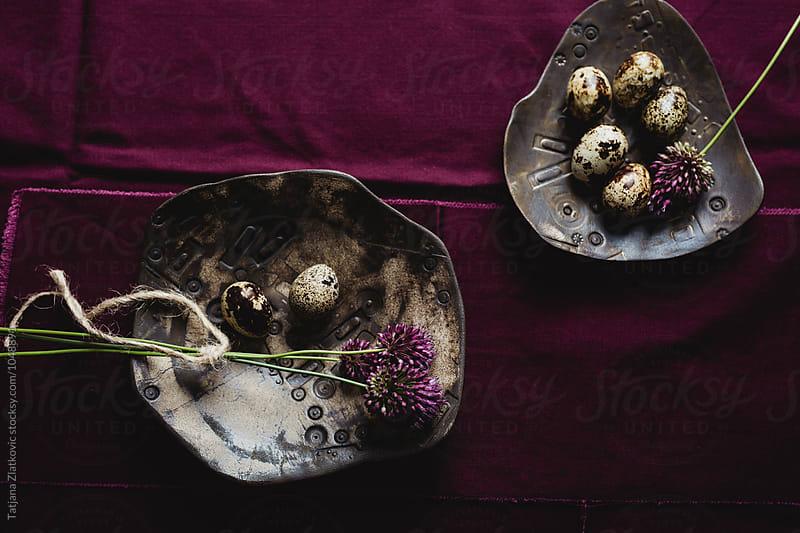 Quail eggs and flowers by Tatjana Zlatkovic for Stocksy United