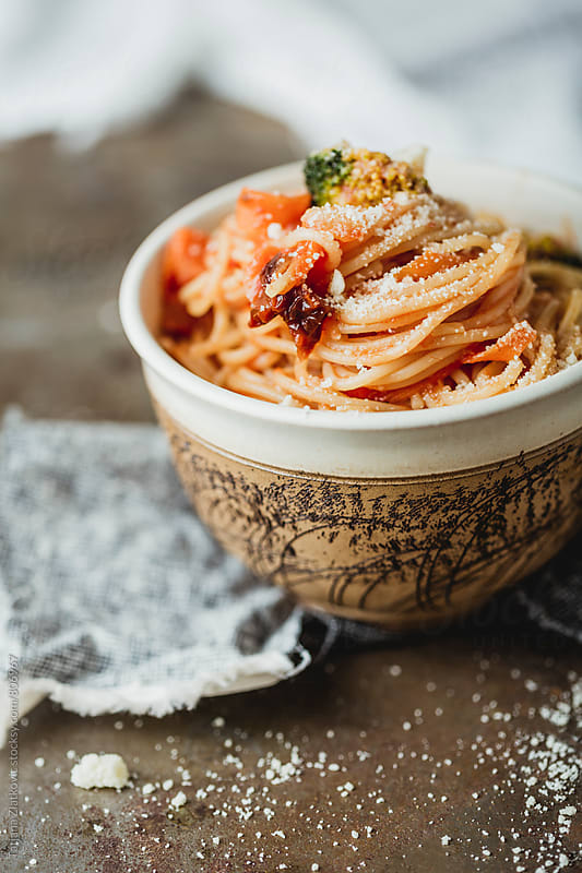 Spaghetti with tomato and broccoli by Tatjana Ristanic for Stocksy United