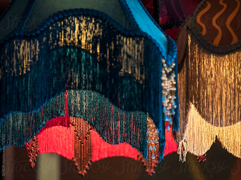 Bordello tassle style colourful lampshades by DV8OR for Stocksy United