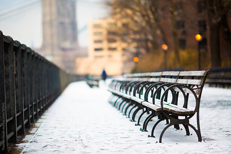 Bench on the Brooklyn Promenade with snow by Thomas Hawk for Stocksy United