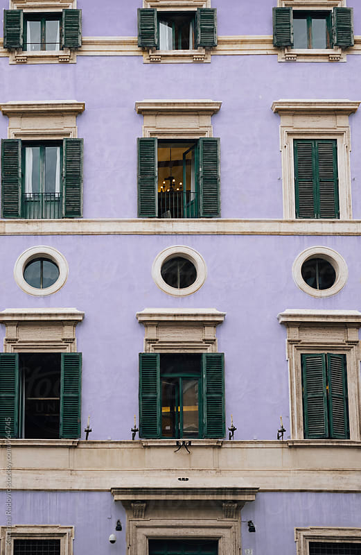 Pastel and Purple Facade of the Old Building by Katarina Radovic for Stocksy United