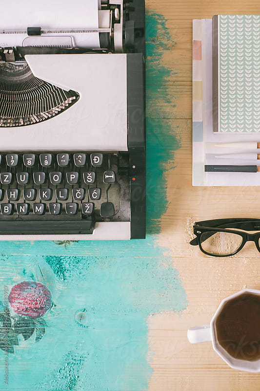 Typewriter and Various Items on the Vintage Table by Aleksandra Jankovic for Stocksy United