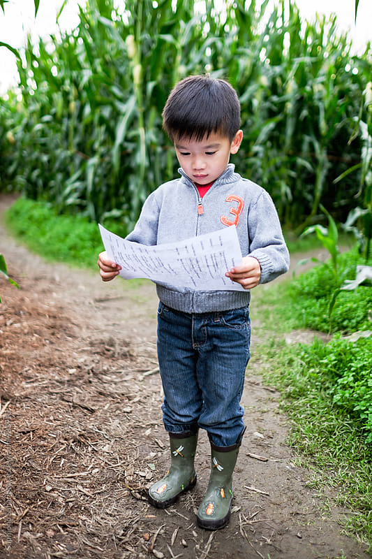 Asian boy looking at the map in a corn maze by Suprijono Suharjoto for Stocksy United