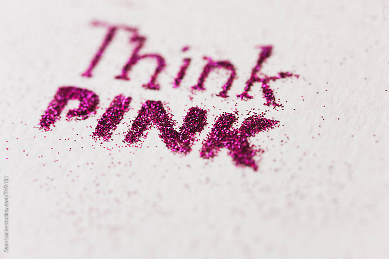 Pink: Glitter Text To Think Pink by Sean Locke for Stocksy United
