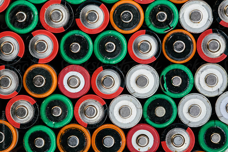 Macro of many batteries filling the entire frame. by kkgas for Stocksy United