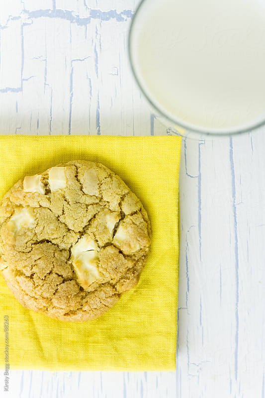 White Chocolate Cookies and milk above by Kirsty Begg for Stocksy United