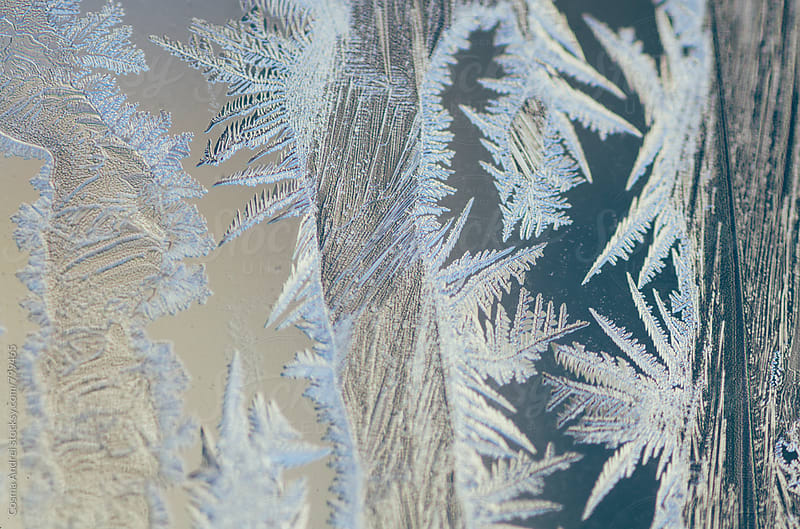Ice crystals pattern on window in the morning by Cosma Andrei for Stocksy United
