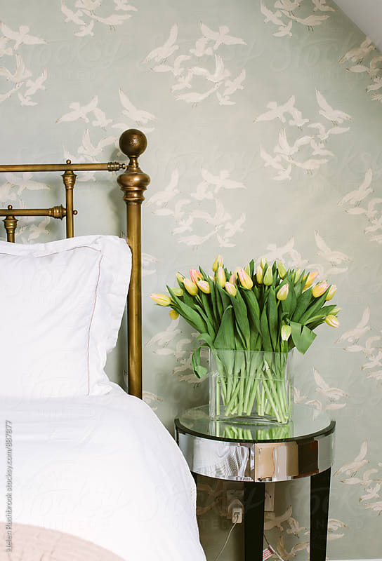 tulips by a bed by Helen Rushbrook for Stocksy United