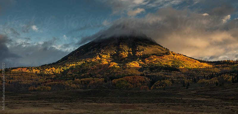 Light streaks across autumn colors in the mountains by Mick Follari for Stocksy United