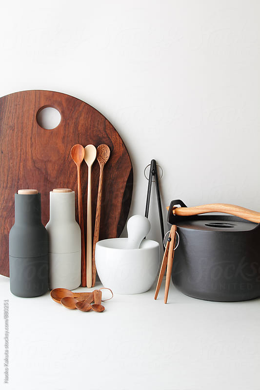 earthy cooking tools on white background by Naoko Kakuta for Stocksy United