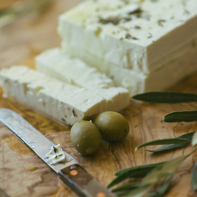 Feta Cheese and Olives by Brkati Krokodil for Stocksy United