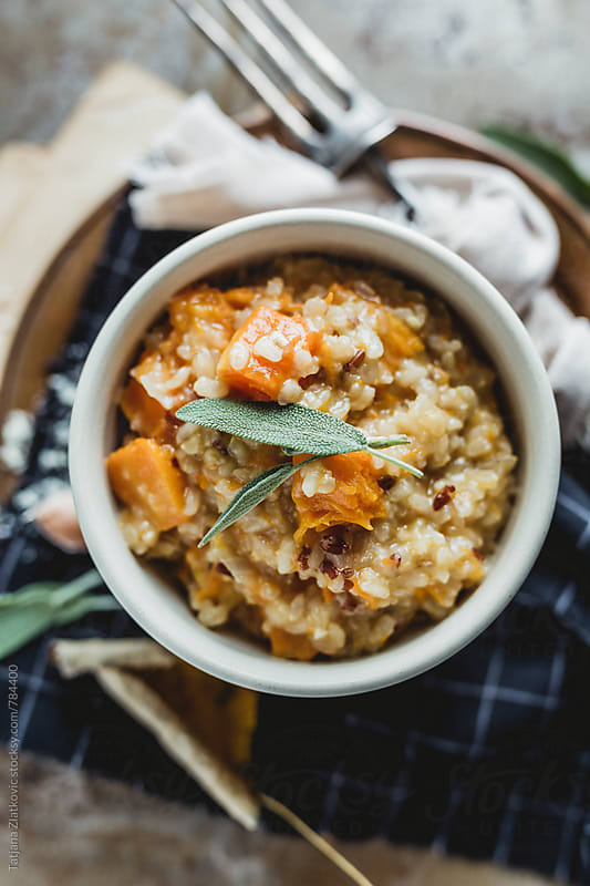 Pumpkin risotto with sage by Tatjana Ristanic for Stocksy United