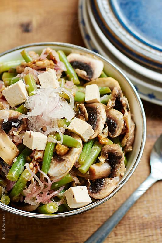 Green Bean, Walnut and Mushroom Salad  by Harald Walker for Stocksy United