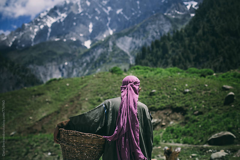 Kashmir Woman and Basket by Daria Berkowska for Stocksy United