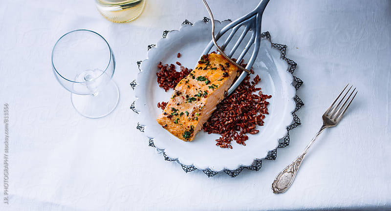 Salmon fillet by J.R. PHOTOGRAPHY for Stocksy United