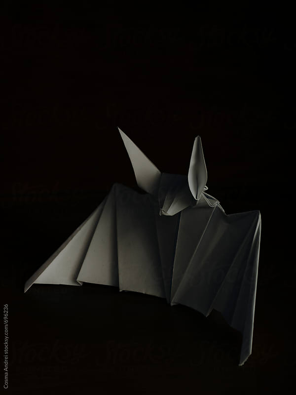 Bat paper origami by Cosma Andrei for Stocksy United