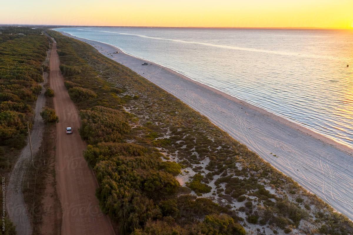 Coastal sunset drive in Western Australia stock photo