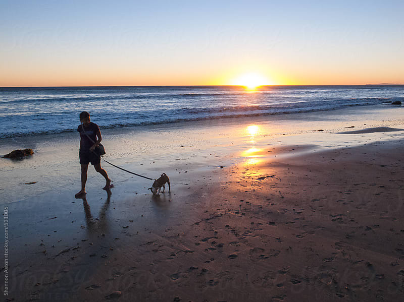 Sunset Dog Owner, Malibu, CA by Shannon Aston for Stocksy United