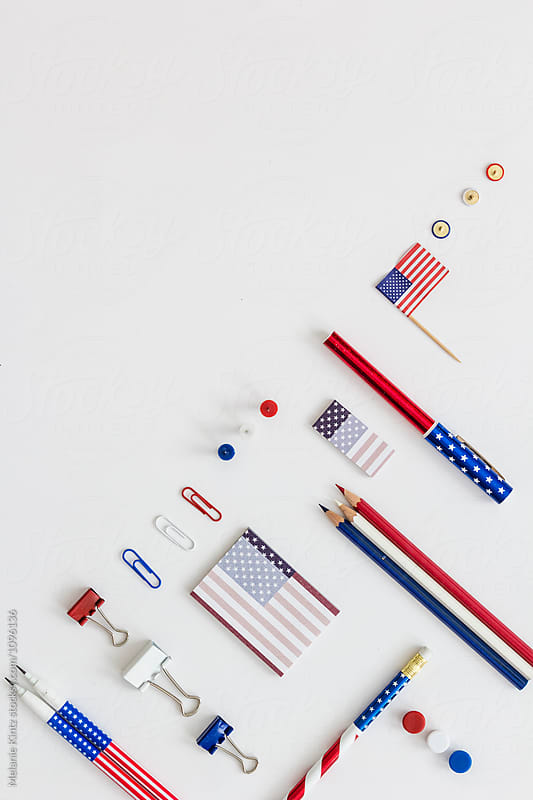 Office tools in red white and blue, stars and stripes by Melanie Kintz for Stocksy United