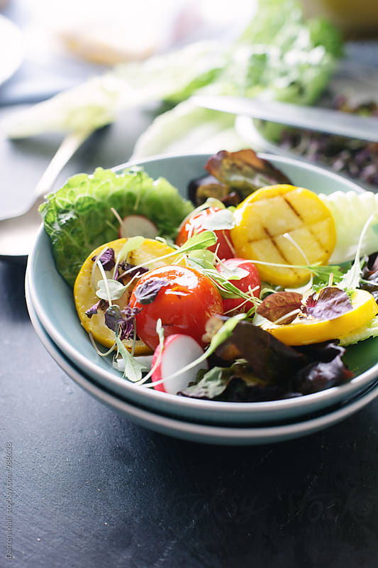 Grilled summer vegetable salad. by Darren Muir for Stocksy United