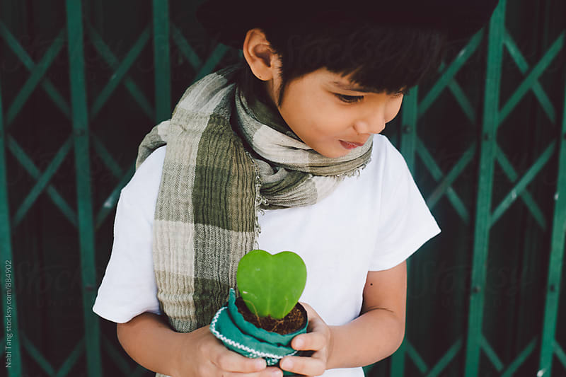Close up of a cute shy boy with valentine's present by Nabi Tang for Stocksy United