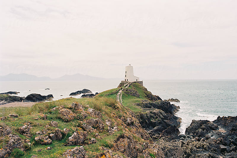lighthouse on Welsh island  by Léa Jones for Stocksy United