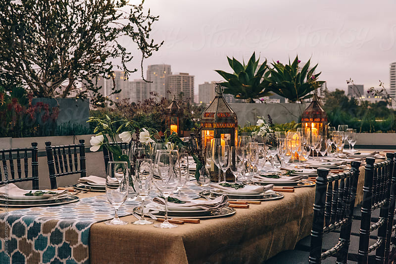Tablescape at Dusk by Jayme Burrows for Stocksy United