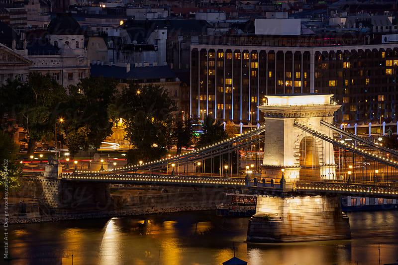 Budapest Bridge, Night Skyline. by Mental Art + Design for Stocksy United