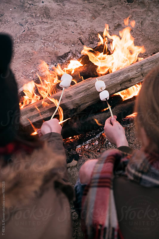 Overhead of two girls roasting marshmallow at bonfire by Danil Nevsky for Stocksy United