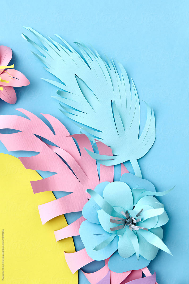 Colorful Handmade Paper Flowers On A Blue Background Creative F
