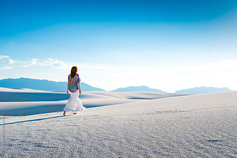 Woman In Skirt Walking Barefoot on White Sand Dunes In White Sands National Monument New Mexico by JP Danko for Stocksy United
