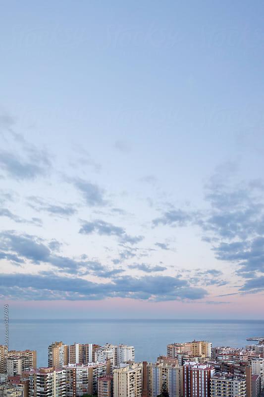 Skyline of Malaga city at sunset by ACALU Studio for Stocksy United