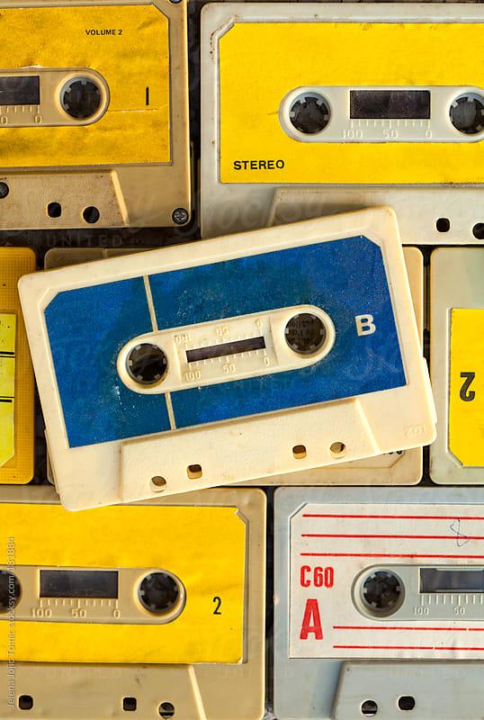 Audio cassettes background by Jelena Jojic Tomic for Stocksy United