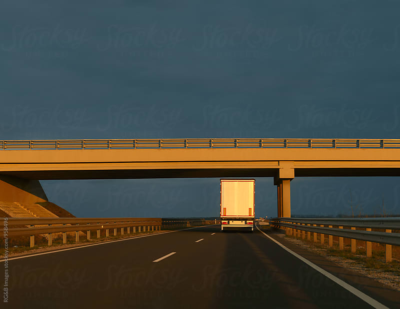 Transportation truck on the highway by RG&B Images for Stocksy United