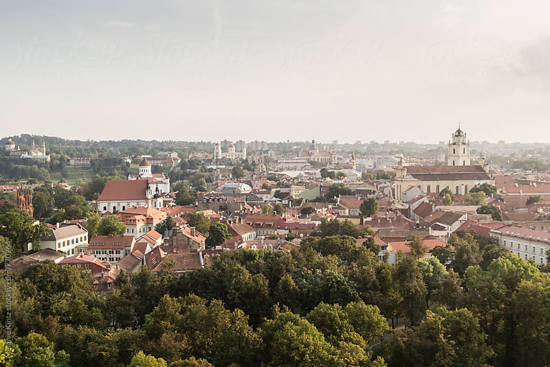 View to Vilnius' old town from the Gediminas hill by Melanie Kintz for Stocksy United