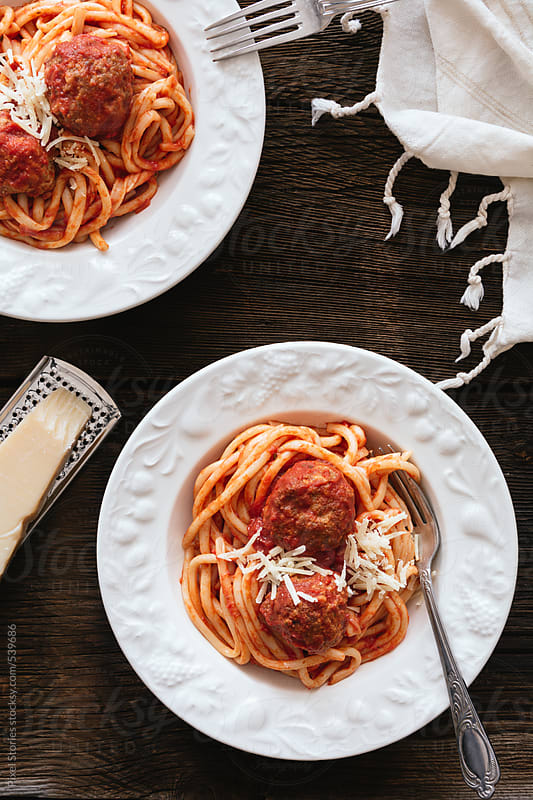 Food: meatball pasta  by Pixel Stories for Stocksy United
