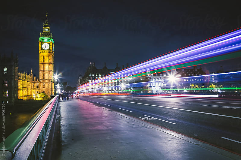 Traffic Lights by the Big Ben, Night in London by Giorgio Magini for Stocksy United
