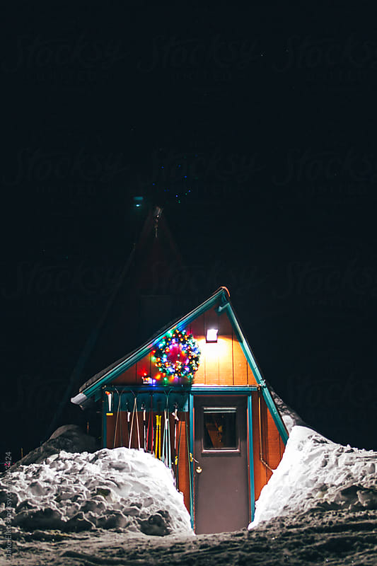 Winter Solstice Aurora Cabin Adventures in Hatcher Pass by Jake Elko for Stocksy United