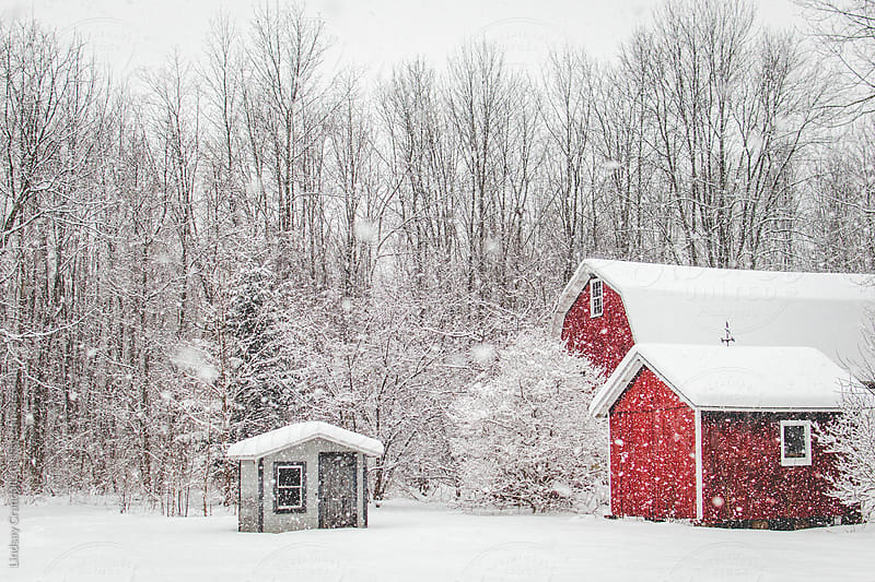 Abandoned red barn beside small shack on a snowy day by Lindsay Crandall for Stocksy United