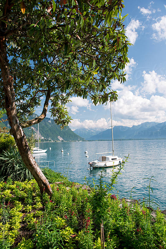 Shore of Lake Geneva at Montreux by Peter Wey for Stocksy United